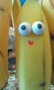 B is for a banana with eyes (attach googly eyes or candy eyes with icing or nutbutter) and mouth (used a permanent marker)