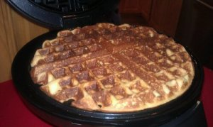 Photo shows how filled the waffle iron is with the amount of batter I used.