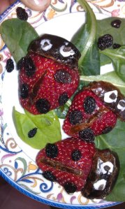 S is for funky looking ladybug strawberries!  Using currants, slivers of dates, and palm shortening.