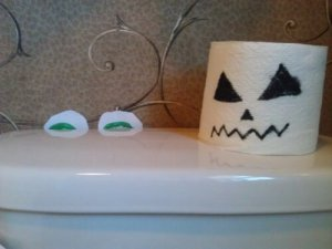 Toilet decorated for Halloween