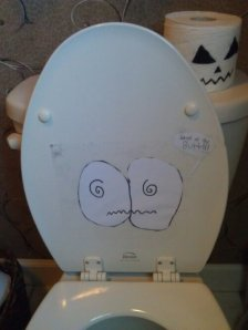 Decorating the toilet for Halloween
