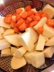 Cut rutabaga and carrot